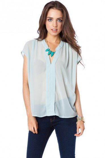 Flynn Top in Powder Blue - ShopSosie.com