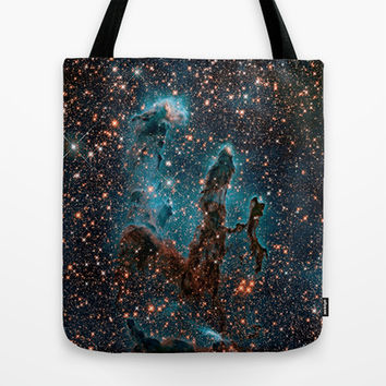 Midnight Blue & Copper Stars Space Galaxy Print (Warm) Tote Bag by 2sweet4words Designs