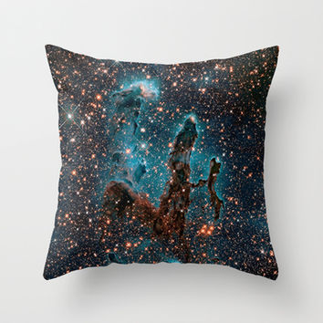 Midnight Blue & Copper Stars Space Galaxy Print (Warm) Throw Pillow by 2sweet4words Designs