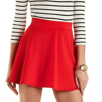 Solid High-Waisted Skater Skirt by Charlotte Russe - Red