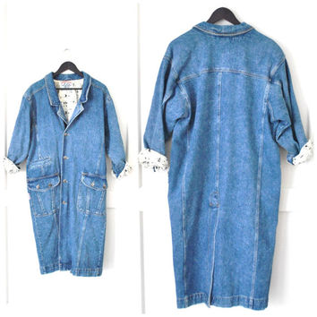 long DENIM coat / vintage early 90s WESTERN grunge unique ooak DUSTER jean jacket / medium os