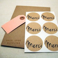 Merci Thanks Kraft Round Stickers 1.5″