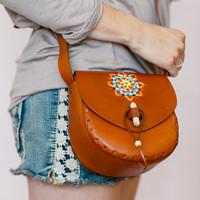 Cross Body Vegan Leather Bag, Stitched Leather Tote, Adjustable Strap Purse, Mexicali Leather Satchel (B1489)
