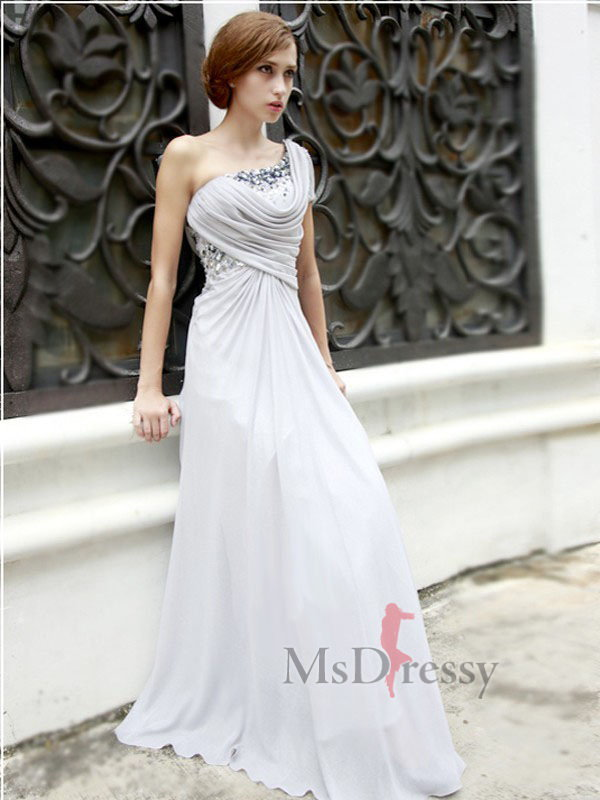 A-line One Shoulder Floor-length Chiffon Best-Selling Prom Dress with Ruffles at Msdressy