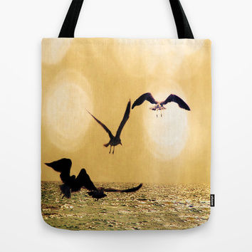 Touch the Golden Heavens Tote Bag by Distortion Art