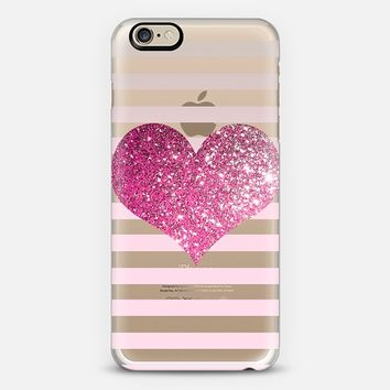 PINK GLITTER LOVE HEART - CRYSTAL CLEAR PHONE CASE iPhone 6 case by Nika Martinez | Casetify