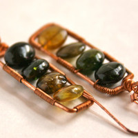 Watermelon Tourmaline Earrings Wire Wrapped Modern Copper Ladder Omber Rectangle Earrings