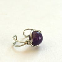 Amethyst Ear Cuff Silver Tone Wire Wrapped Ear Cuff