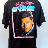 Vintage 1992 Black BILLY RAY CYRUS Achy Breaky Heart Tour Tshirt