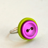 Neon Green Purple Button Ring Wire Wrapped Custom Rings Available