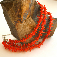 Red Coral Necklace Nautical Silver Chunky Mutli-Strand