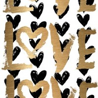 Love and Black Hearts Canvas Art