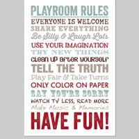 "Playroom Rules Playroom Decor Playroom Art Playroom Sign Playroom Wall Art Poster Print Art for Playroom 16""x20"" poster print"