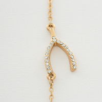 Gold Pave Wishbone Necklace - Clear - One