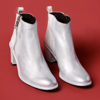 Miista Shoes | Alice Ankle Boot in White & Metallic Silver | Thrifted & Modern