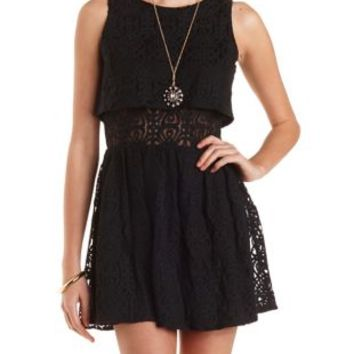 Layered Lace Skater Dress by Charlotte Russe - Black