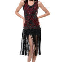 1920's Style Black & Red Beaded Rosalie Flapper Dress - Unique Vintage - Homecoming Dresses, Pinup & Prom Dresses.