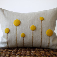 Yellow Billy Ball Flower Pillow in Natural Linen by JillianReneDecor Billy Button Botanical Home Decor Honey Gold
