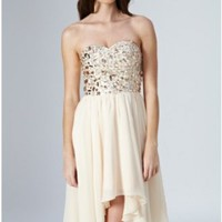 A-line Sweetheart Asymmetrical Chiffon Homecoming Dress With Sequin at Msdressy