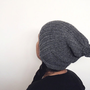 bapsi's slouchy pompom hat in oxford grey