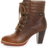 Bass Russel Cognac Leather High Heel Hiker Ankle Boots - $119.00