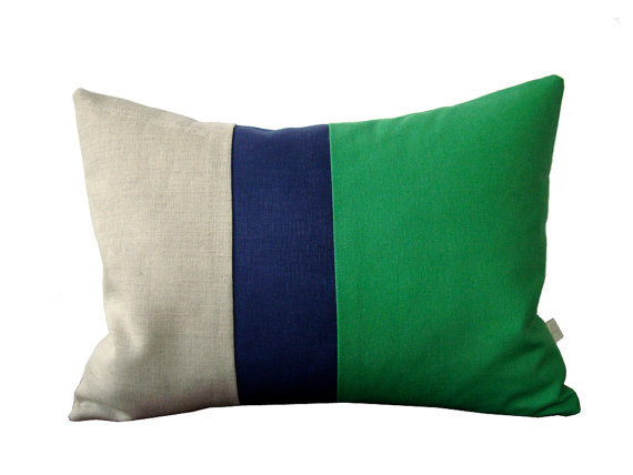 Kelly Green Color Block Pillow with Navy from JillianReneDecor on