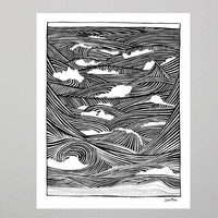 Hurricane Wave print Ocean Beach Surf poster 11x14 unframed