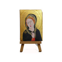 Byzantine Inspired Madonna-  Miniature Painting on Plaster