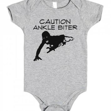 Caution Ankle Biter Walking Dead TWD baby Onesuit-Baby Onesuit 00