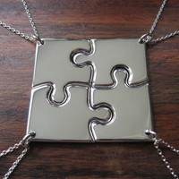 Four Corner Puzzle, Silver Pendant Necklaces