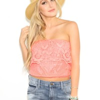 West Coast Wardrobe  Always On My Mind Tube Lace Top in Coral