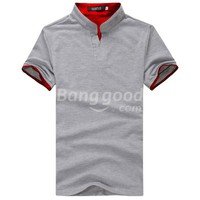 Stylish V Neck Short Sleeve Tee POLO Slim Fit Men's T-Shirts Free Shipping!  - US$7.99