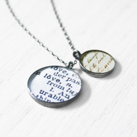 Love Letter Necklace - dictionary word romantic valentine resin pendant brass stamped charm on sterling silver chain - hand-stamped jewelry