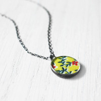 Morning Glory Necklace - 1940s fabric red yellow flower vines resin pendant on sterling silver chain - vintage fabric jewelry - small