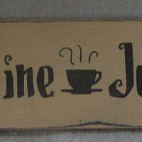 Caffeine Junkie Sitter Sign Coffee Work Office by icehousecrafts