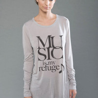 Music Is My Refuge Eco Modal Long Sleeve Shirt