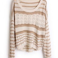 Hollow out Pretty Striped Brown Sweater S001673