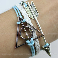 jewelry bracelet deathly hallows bracelet silver deathly hallows charm rope bracelet ,Harry potter Silver arrow, leather bracelet