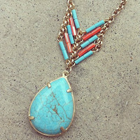 Turquoise Heishi Pear Necklace [3152] - $23.00 : Vintage Inspired Clothing &amp; Affordable Fall Frocks, deloom | Modern. Vintage. Crafted.