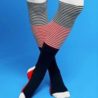Over The Knee Striped Socks - Happy Socks (S/M)