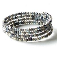 Stacking bead bracelets - silver, blue & grey bangles wrap 4 times around the wrist