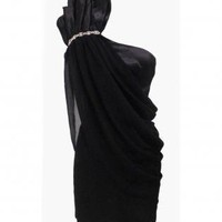 Black One Shoulder Dress with Chiffon Overlay&amp;Shoulder Detai