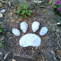 Paw Print, Pet Memorial, Concrete Stone, Dog Paw