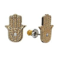 LC Lauren Conrad Gold Tone Simulated Crystal Hand Of God Stud Earrings
