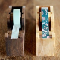 Wood Tape Dispenser for Japanese Masking Tapes (Light or Dark Wood)