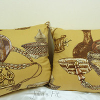 Jewelry Pillows Vintage Inspired Print Set of Two (2) Covers, Vase, Basket