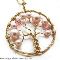 Cherry Blossom Necklace, Pink Pearl Tree of Life Necklace