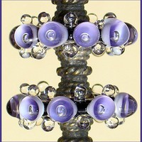 Lampwork Glass Beads, Handmade Lampwork Beads, Violet Bubble Disc Glass Beads Set (6)