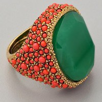 Kenneth Jay Lane Coral & Jade Cocktail Ring | SHOPBOP