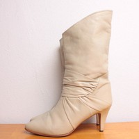 Vintage 1980s Slouchy Stilletto Boots in Ruched by pineapplemint